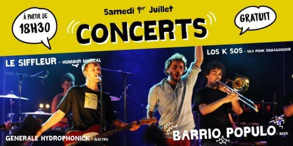 Concerts gratuits samedi 1er juillet dès 18h30